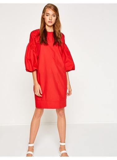 Koton Balon Kol Diz Üstü Elbise Kırmızı